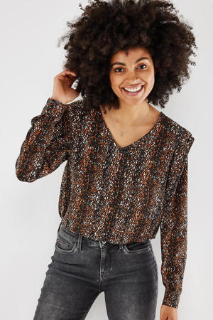 geweven blouse met all over print bruin