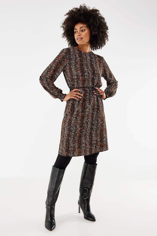 Mexx jurk met all over print en ceintuur bruin, Bruin