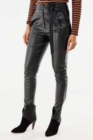 imitatieleren high waist skinny broek zwart