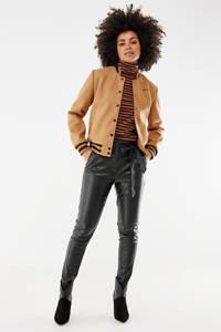 Mexx imitatieleren high waist skinny broek zwart, Zwart