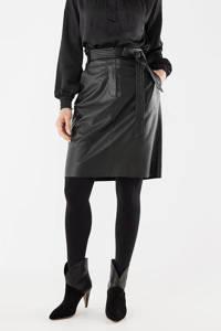 Mexx imitatieleren rok met ceintuur zwart, Zwart