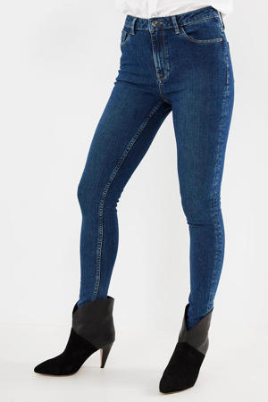 high waist skinny jeans dark blue