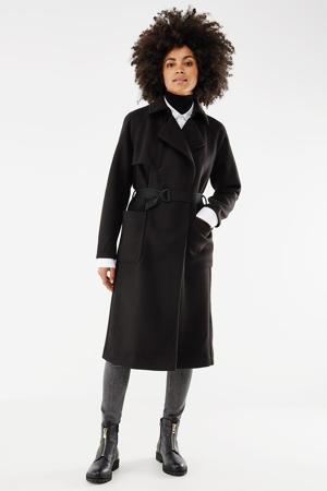 coat met ceintuur zwart