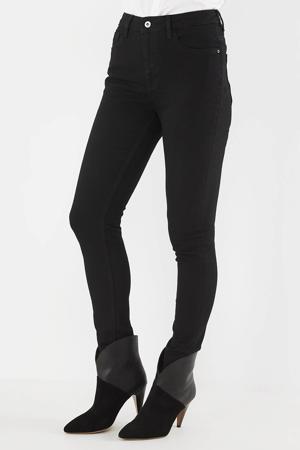 high waist skinny jeans black stone