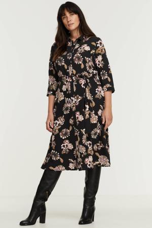 gebloemde blousejurk PCEMBER  van gerecycled polyester zwart/lichtroze/beige