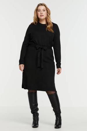 gebreide jurk van gerecycled polyester zwart