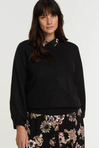 PIECES Curve fijngebreide trui PCPERLA van gerecycled polyester zwart, Zwart