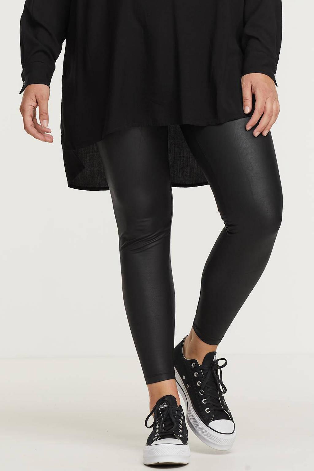 PIECES Curve coated fleece legging PCNEW zwart, Zwart