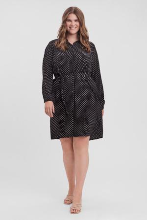 blousejurk VMSAGA van gerecycled polyester zwart/wit