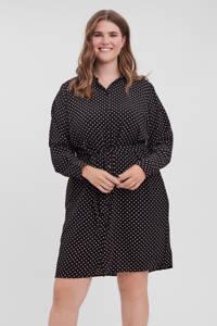 VERO MODA CURVE blousejurk VMSAGA van gerecycled polyester zwart/wit, Zwart/wit