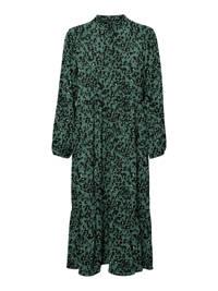 VERO MODA CURVE maxi jurk VMSAGA van gerecycled polyester donkergroen/zwart/wit