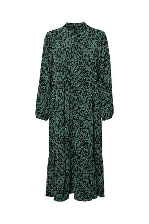 maxi jurk VMSAGA van gerecycled polyester donkergroen/zwart/wit