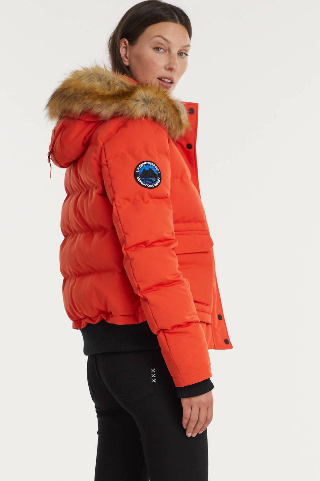 Superdry gewatteerde jas Everest oranje, Oranje