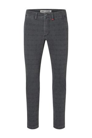 geruite slim fit broek Lennox steel blue check
