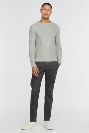 geruite slim fit broek Lennox steel blue printed