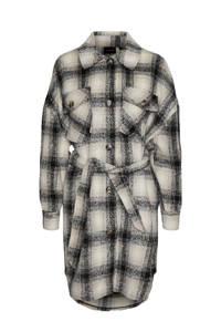 VERO MODA CURVE geruite shacket VMLUNA van gerecycled polyester beige/zwart/wit, Beige/zwart/wit