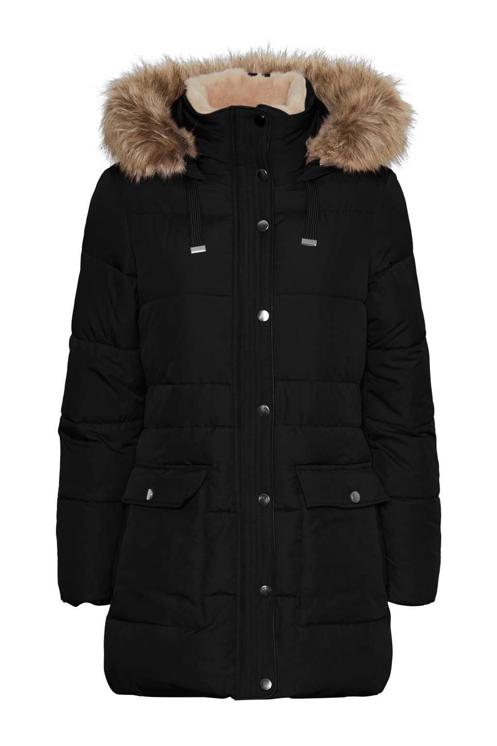 VERO MODA CURVE gewatteerde jas VMSKYLAR zwart, Zwart