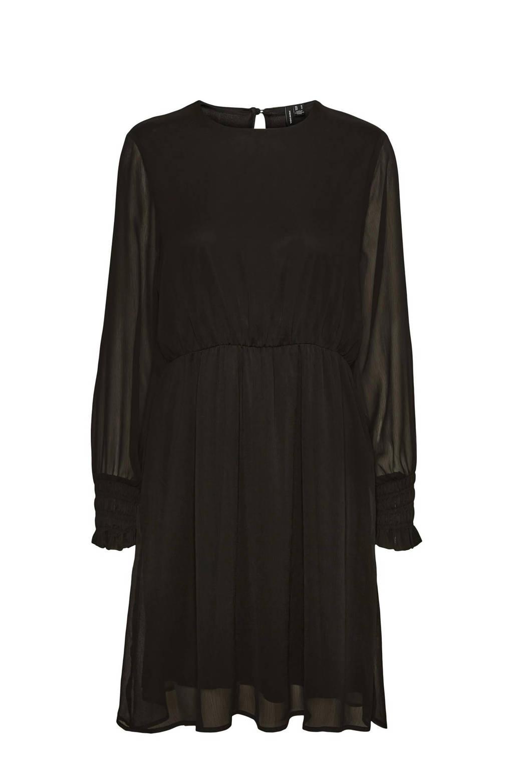 VERO MODA CURVE semi-transparante jurk VMSMILLA van gerecycled polyester zwart, Zwart