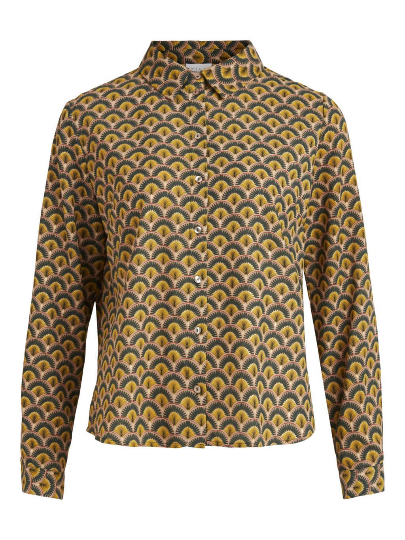 VILA blouse VIFAJU  met all over print geel, Geel