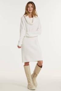 VILA gebreide jurk VIFLINKA van gerecycled polyester wit, Wit