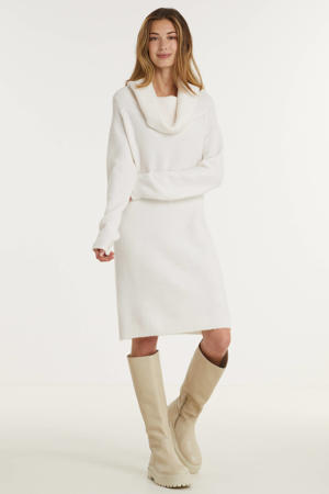 gebreide jurk VIFLINKA van gerecycled polyester wit