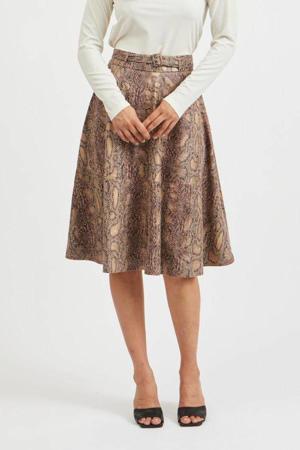 coated rok VIPINES met slangenprint en ceintuur bruin