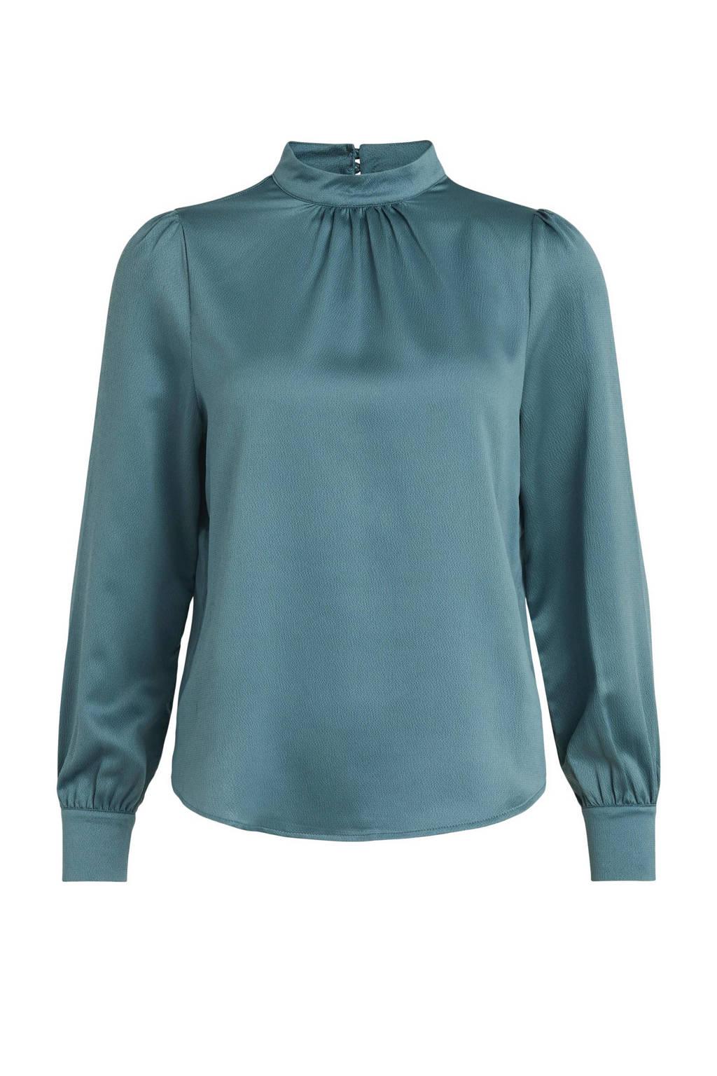 VILA top VILADEE van gerecycled polyester blauw, Blauw