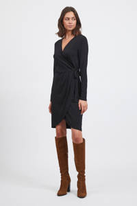 VILA overslagjurk VINAYELI  van gerecycled polyester zwart, Zwart