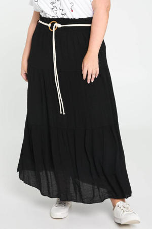 midi rok met plooien zwart