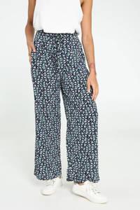 Cassis wide leg palazzo broek met all over print donkerblauw/groen/wit, Donkerblauw/groen/wit