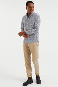 WE Fashion slim fit overhemd met all over print white uni, White Uni
