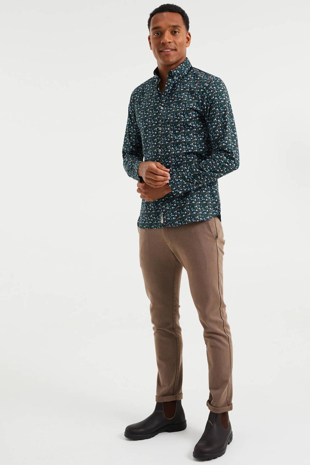 WE Fashion slim fit overhemd met all over print royal navy, Royal Navy