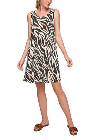 jurk met all over print wit/zwart