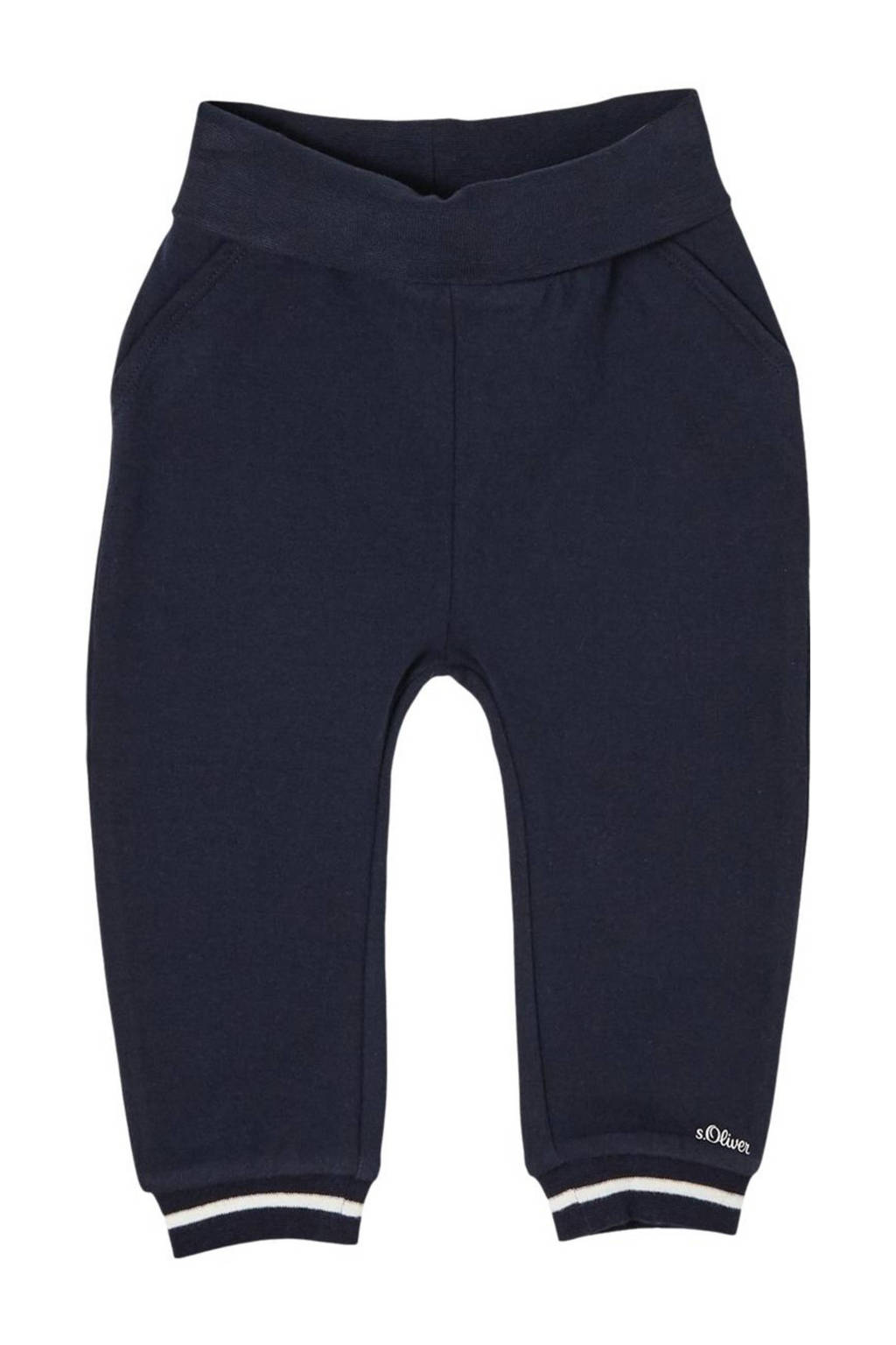 s.Oliver baby gemêleerde regular fit joggingbroek donkerblauw/wit, Donkerblauw/wit