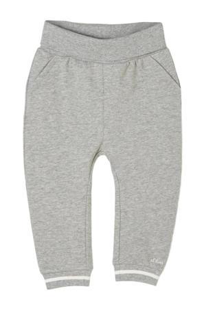 baby gemêleerde regular fit joggingbroek grijs melange/wit