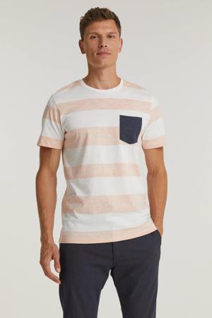 gestreepte regular fit T-shirt koraalrood/wit