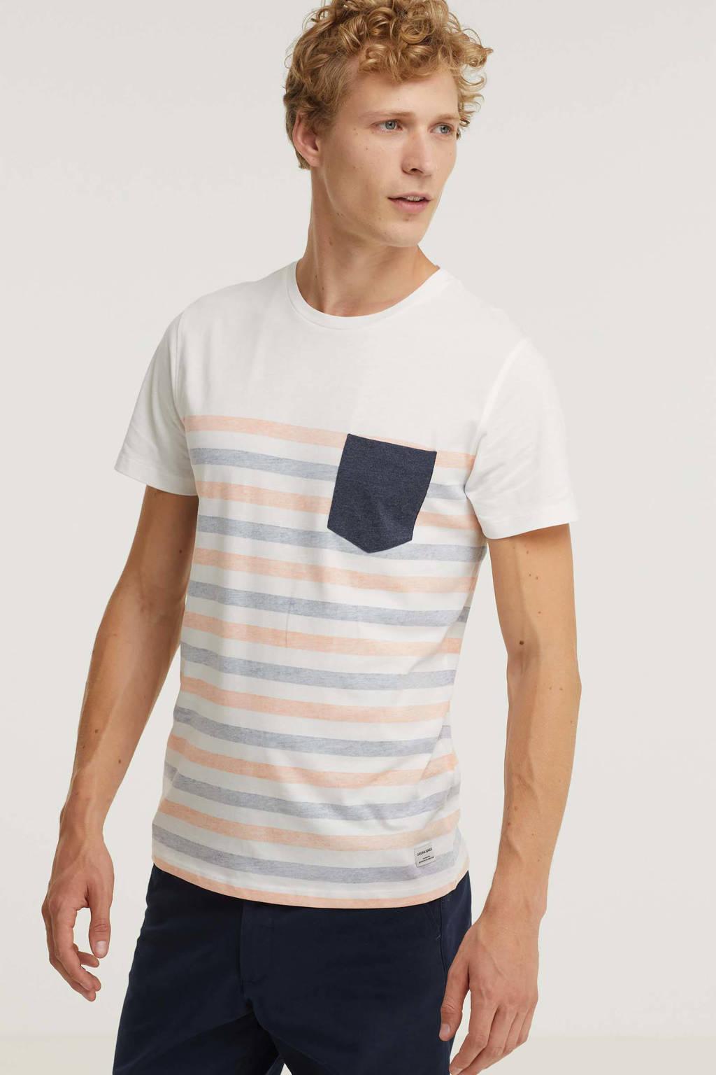 JACK & JONES ORIGINALS gestreept regular fit T-shirt JWHGMS koraal/wit/blauw, Koraal/wit/blauw
