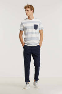 JACK & JONES ORIGINALS gestreept regular fit T-shirt JWHGMS blauw/wit, Blauw/wit