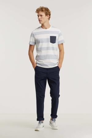 gestreepte regular fit T-shirt blauw/wit