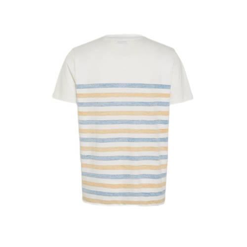 JACK & JONES ORIGINALS gestreepte regular fit T-shirt blauw