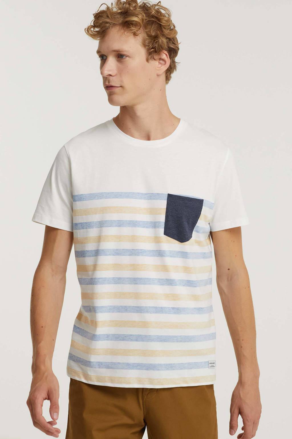 JACK & JONES ORIGINALS gestreept regular fit T-shirt JWHGMS blauw, Blauw