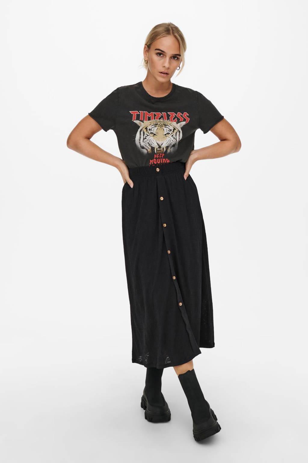 ONLY T-shirt ONLLUCY met printopdruk zwart, Zwart
