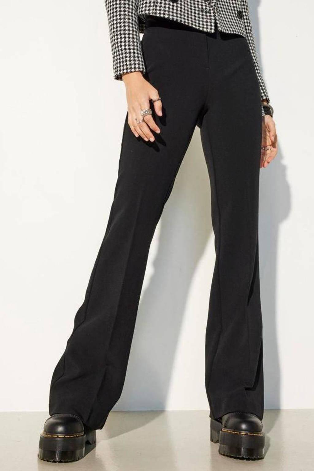 ONLY high waist flared broek ONLEDINA zwart, Zwart