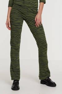 ONLY high waist flared broek ONLKASANDRA met zebraprint donkergroen/zwart, Donkergroen/zwart
