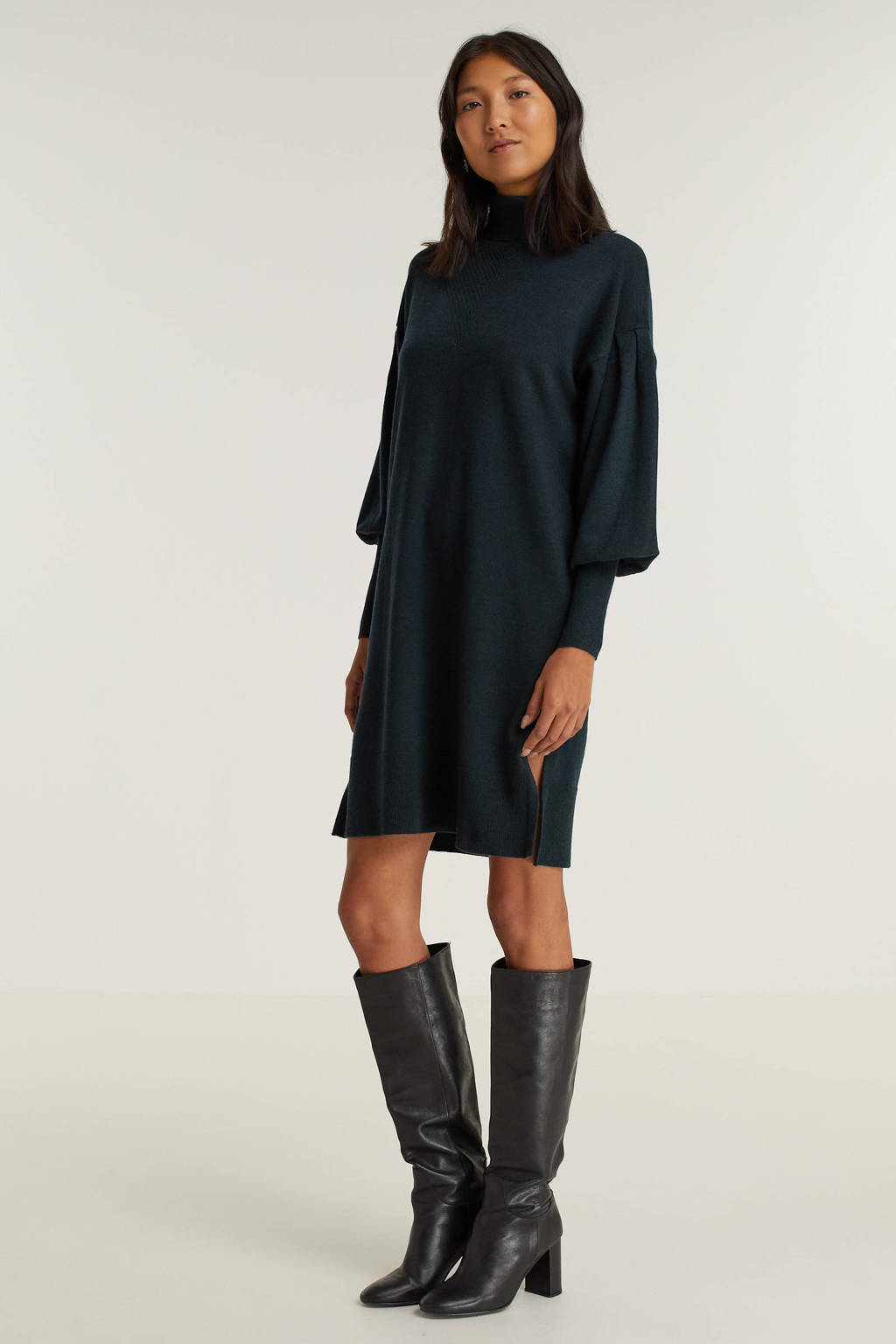 FREEQUENT fijngebreide jurk FQFAULA zwart, Donkergroen