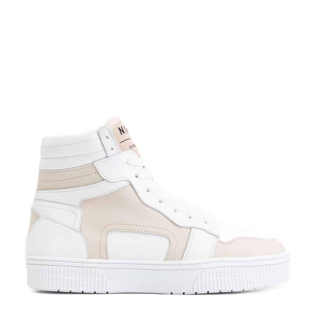 NIKKIE Livia  hoge leren sneakers wit/beige, Wit/beige