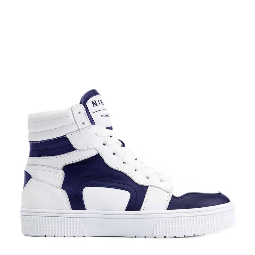 NIKKIE Livia  hoge leren sneakers wit/donkerblauw, Wit/donkerblauw