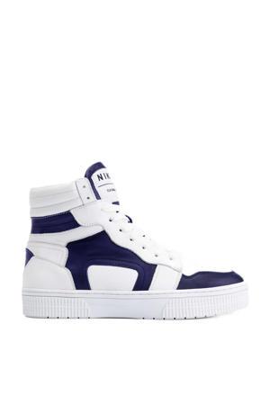 Livia  hoge leren sneakers wit/donkerblauw