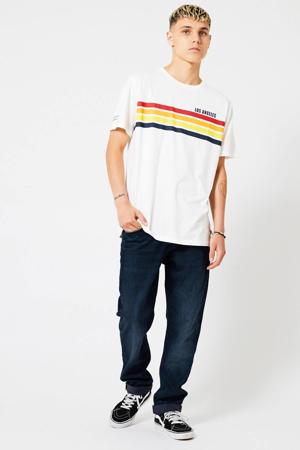 T-shirt Ello Stripe met printopdruk ecru