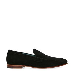 suède loafers zwart